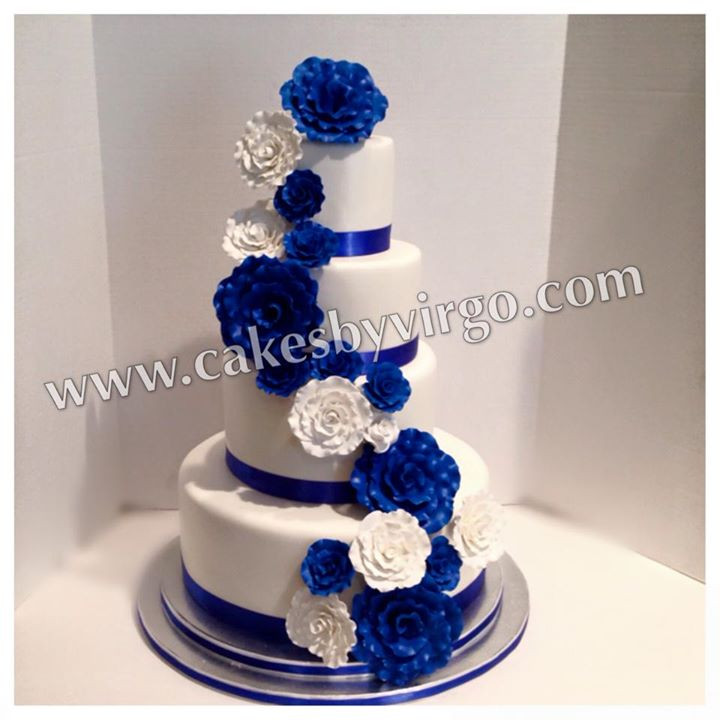 Royal Blue Silver And White Wedding Cakes  Wedding cakes royal blue and white idea in 2017