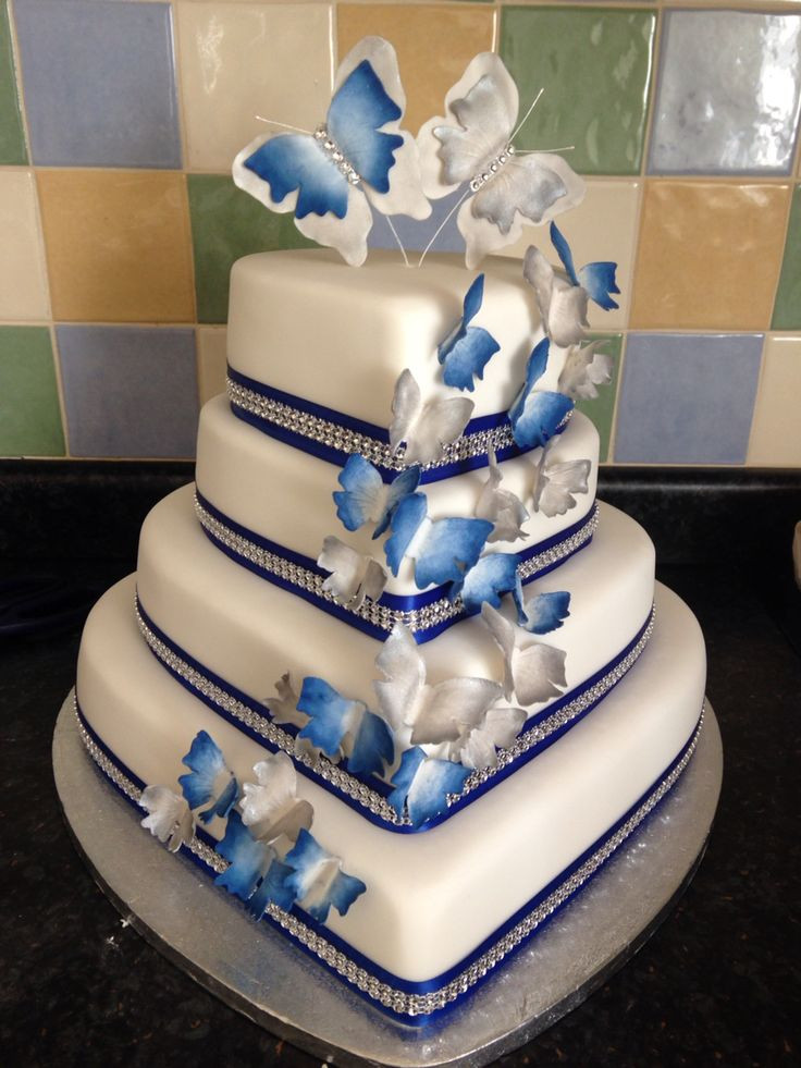 Royal Blue Silver And White Wedding Cakes  Royal blue and silver heart wedding cake