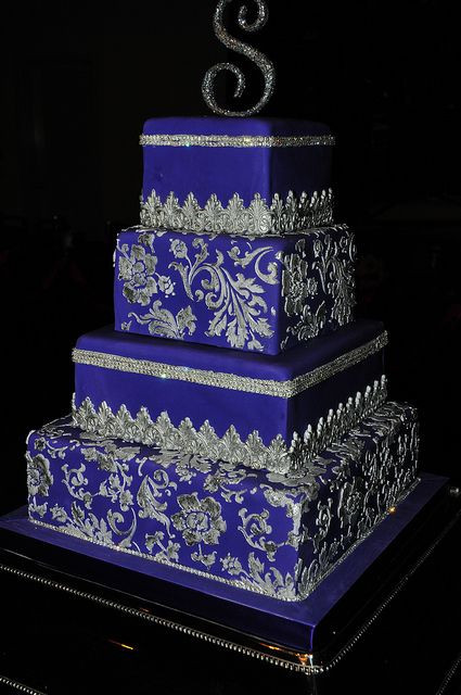 Royal Blue Silver And White Wedding Cakes  Royal Blue and silver Wedding Cake Wedding inspirations
