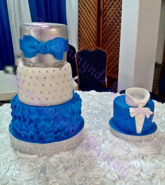 Royal Blue Silver And White Wedding Cakes  royal blue silver and white cake by Kimlee Cezair