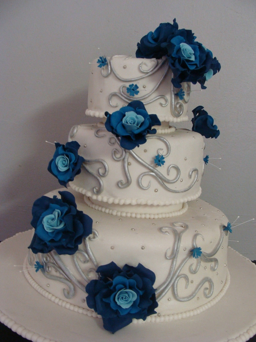 Royal Blue Silver And White Wedding Cakes  Blue And Silver Wedding Cake CakeCentral