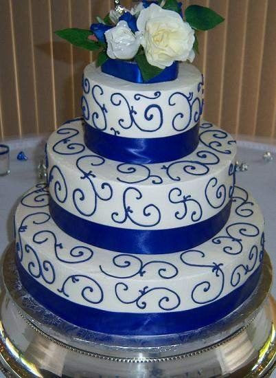 Royal Blue Silver And White Wedding Cakes  White And Blue And Gold Cake