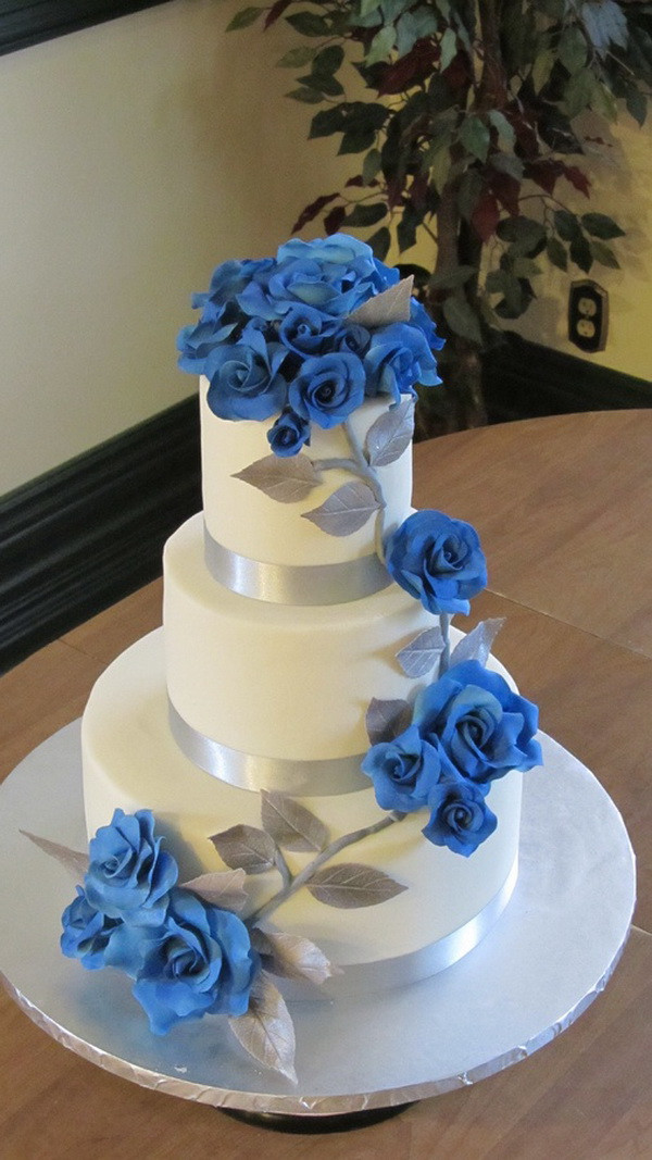 Royal Blue Wedding Cakes Designs  Blue Wedding Cake Ideas