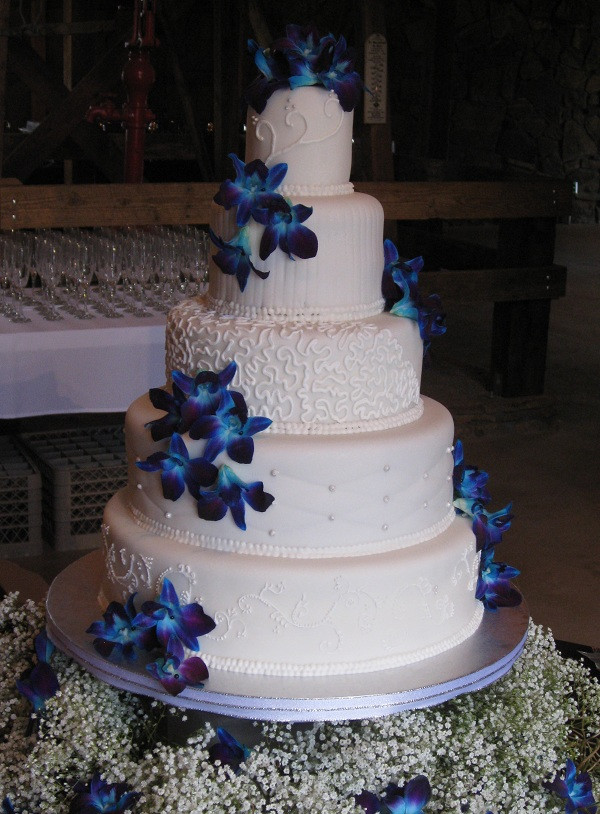 Royal Blue Wedding Cakes Designs  Katie s Cakes Blue Orchid Wedding Cake