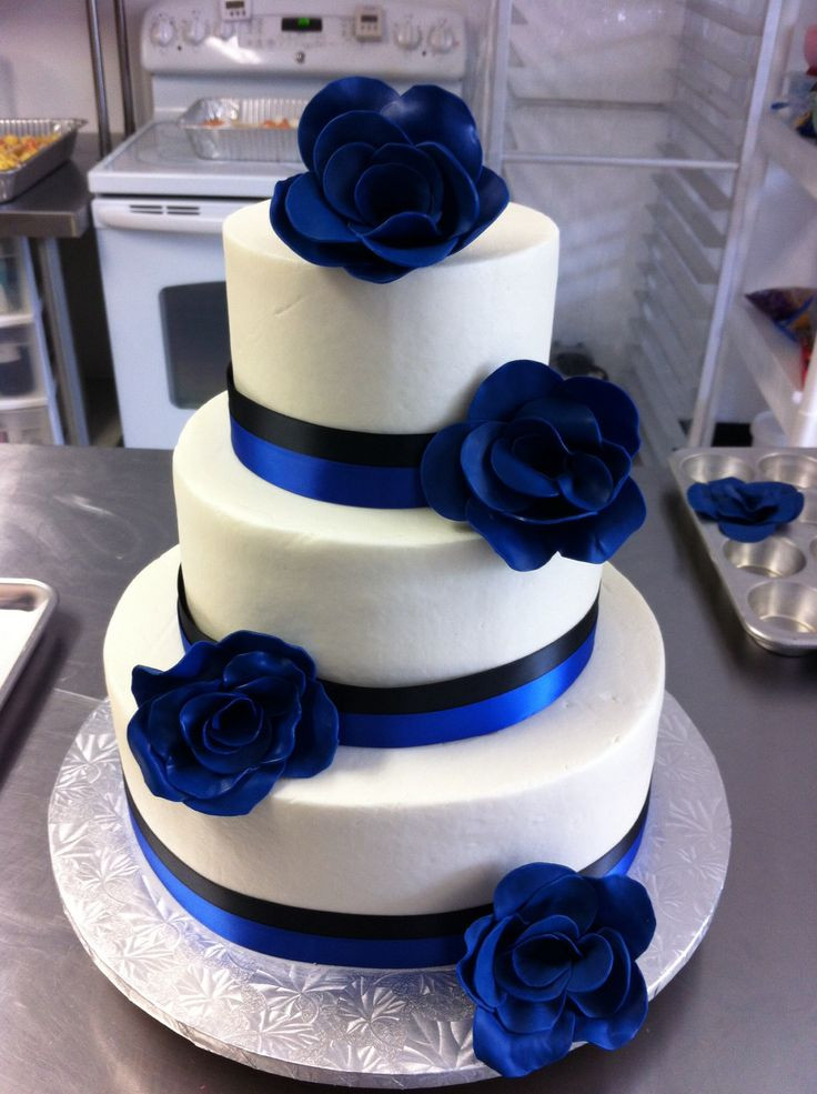 Royal Blue Wedding Cakes Designs  Royal Blue & Black Wedding Cake