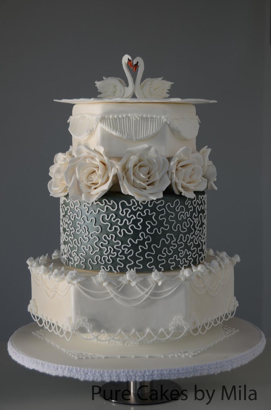 Royal Icing Wedding Cakes  Swans Royal Icing Wedding Cake CakeCentral