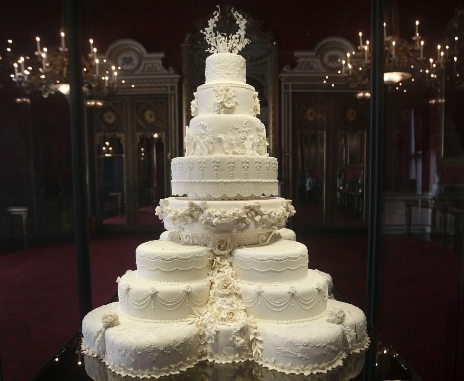 Royal Wedding Cakes  Kate Middleton s Eight Tiered Wedding Cake Slice Fetches £