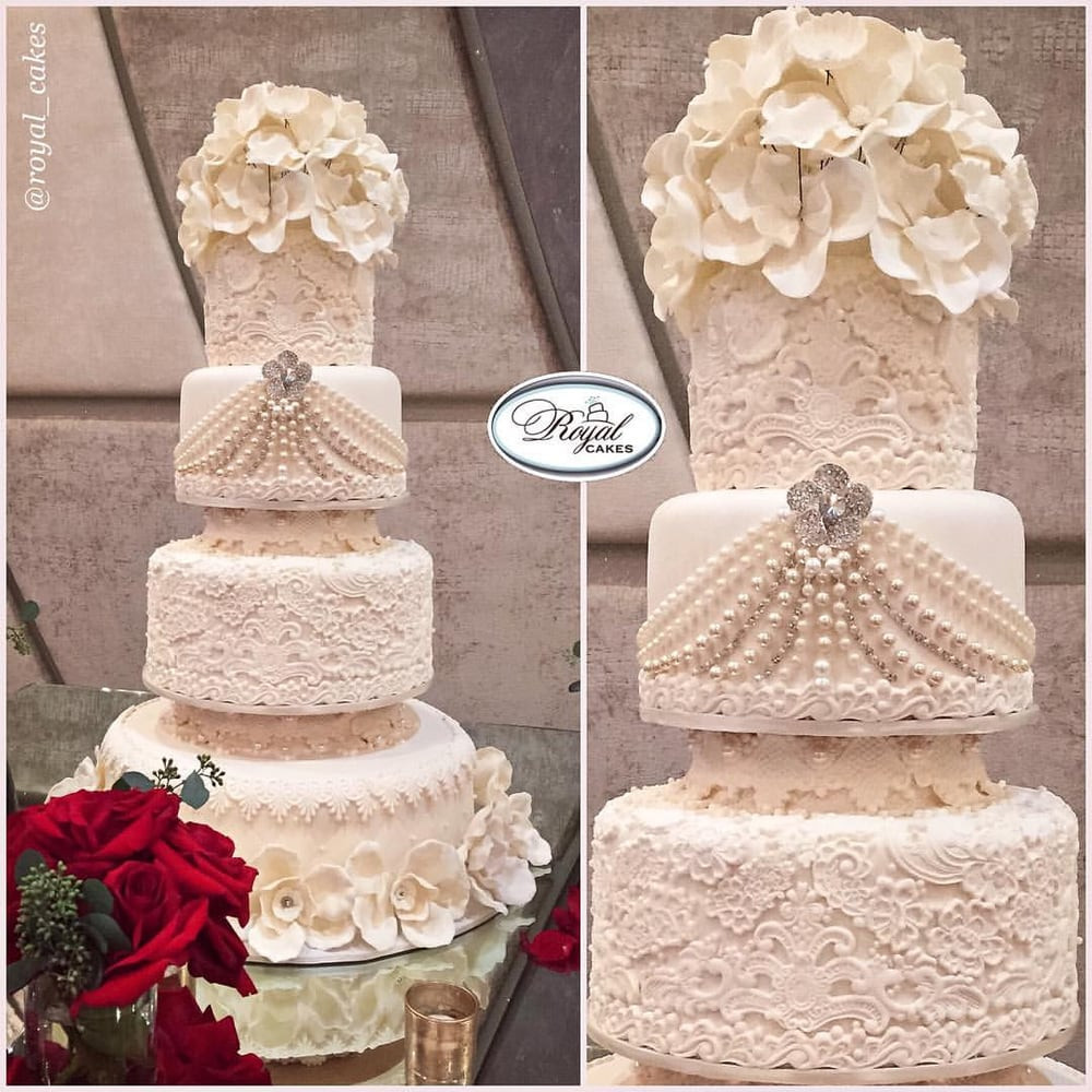 Royal Wedding Cakes  Delicious 4 tiers covered in sugar lace & pearls Royal