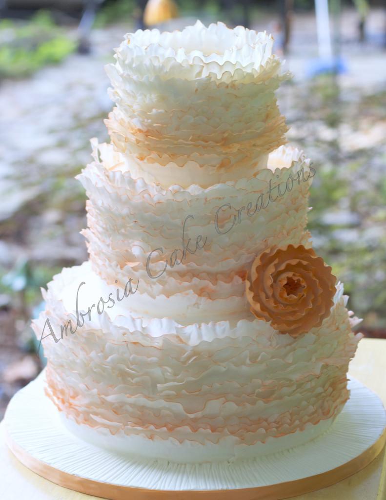Ruffle Wedding Cakes  Romantic Ruffle Wedding Cake Ambrosia Cake Creations