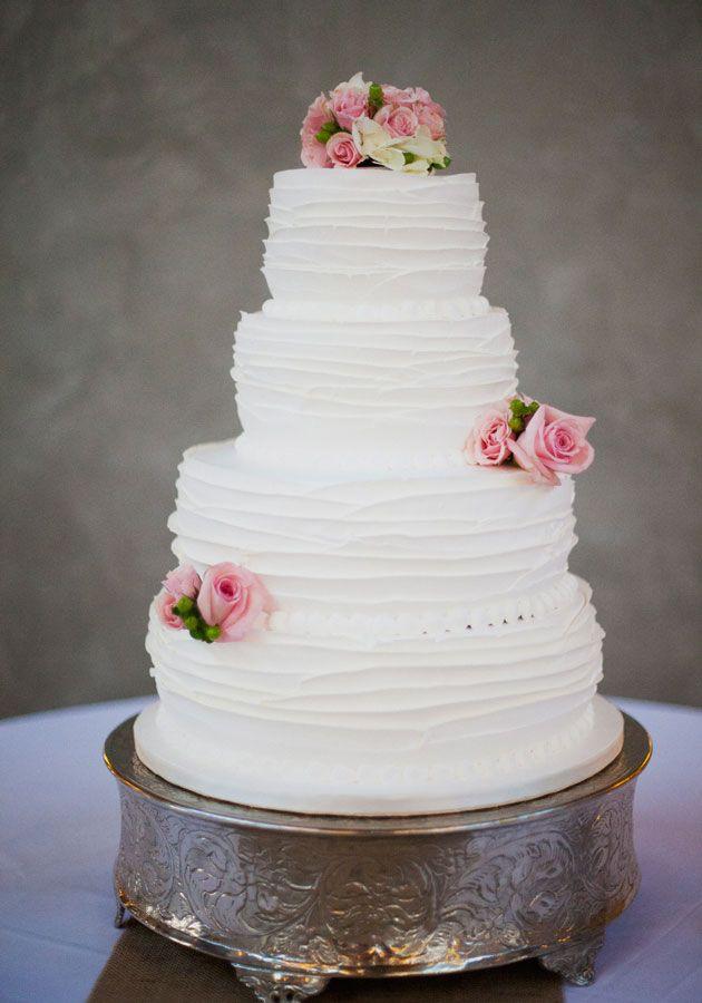 Ruffle Wedding Cakes  4 tier ruffle cake in white