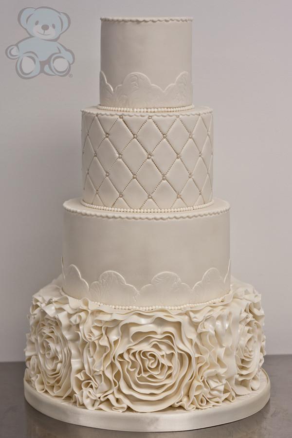 Ruffle Wedding Cakes  Ivory Ruffle Wedding Cake