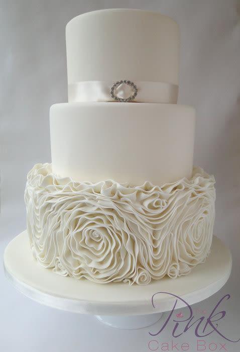 Ruffle Wedding Cakes  Champagne Ruffled Rose Wedding Cake Cake by Rose