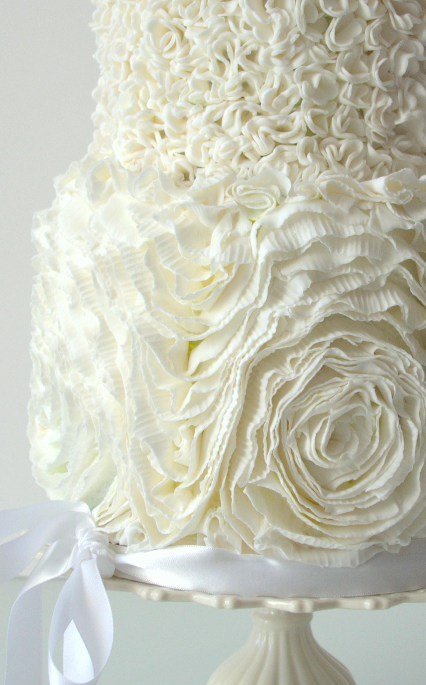 Ruffle Wedding Cakes  Ruffle Rose And Pompom Wedding Cake CakeCentral