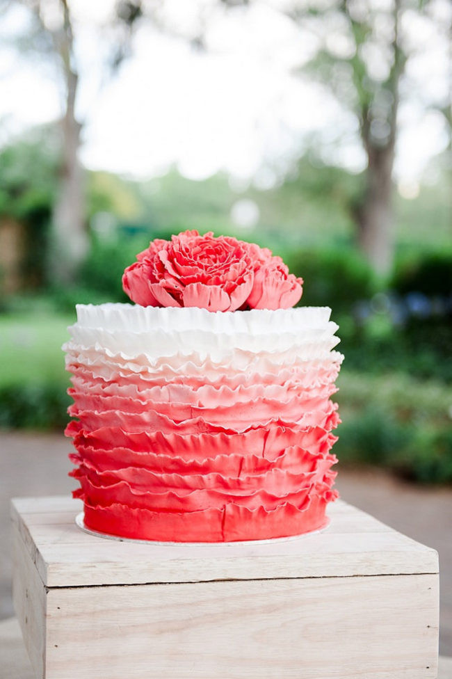 Ruffled Wedding Cakes  25 Ombre & Ruffle Wedding Cake Wonders