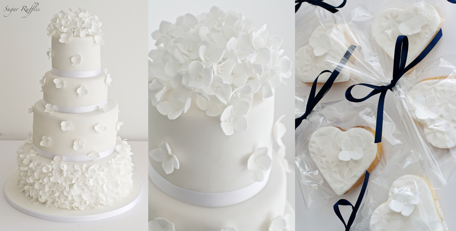 Ruffled Wedding Cakes  Petal ruffle wedding cake with hydrangea flowers