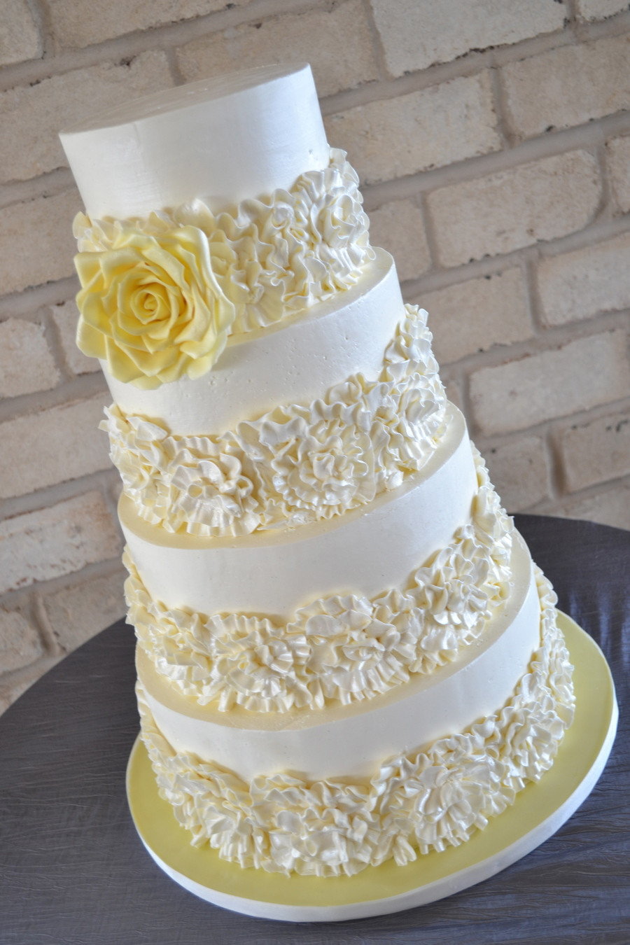 Ruffles Wedding Cakes  Buttercream Ruffles Wedding Cake CakeCentral