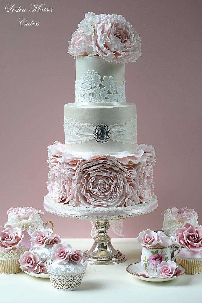 Ruffles Wedding Cakes  Wedding Cakes Pink Peony Ruffles Cake Weddbook