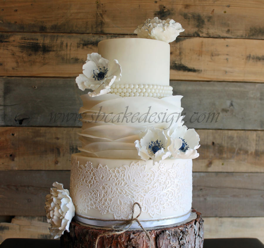 Ruffles Wedding Cakes  Lace and Ruffle Wedding Cake cake by Shannon Bond Cake