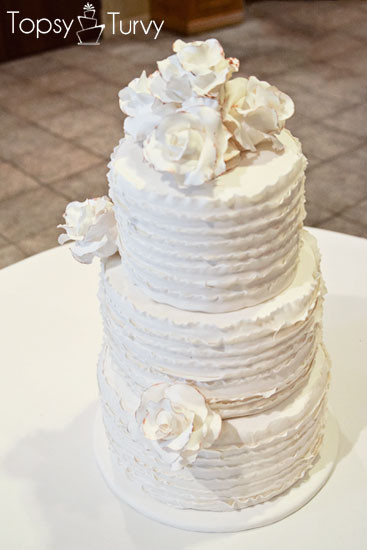 Ruffles Wedding Cakes  Vintage Rose Ruffled Wedding Cake