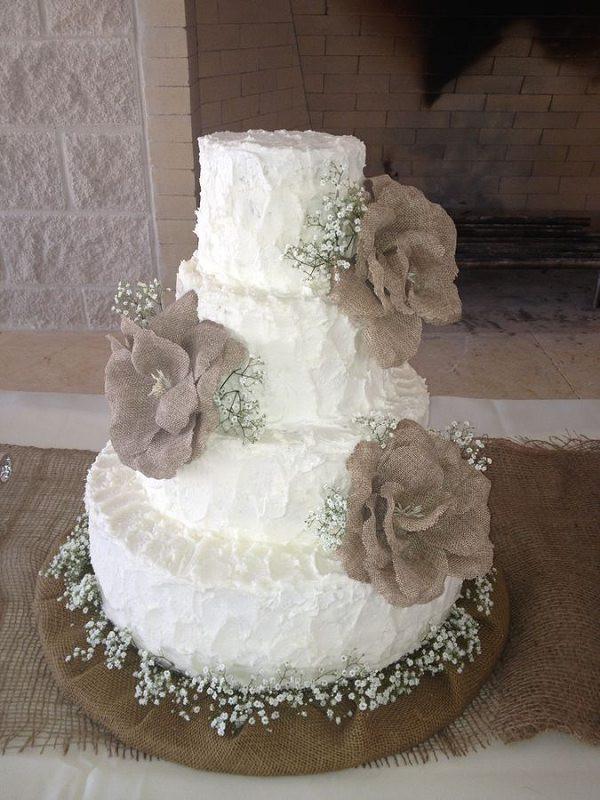 Rustic Buttercream Wedding Cakes  rustic country buttercream wedding cake with burlap