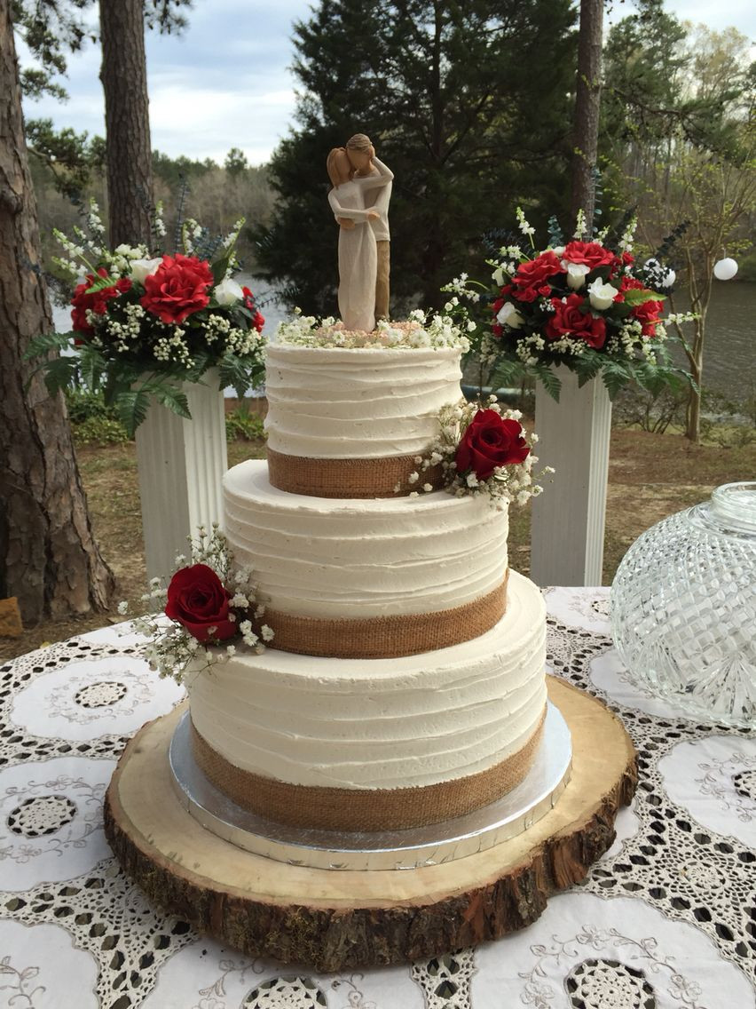 Rustic Buttercream Wedding Cakes  3 tier rustic buttercream wedding cake with burlap and red