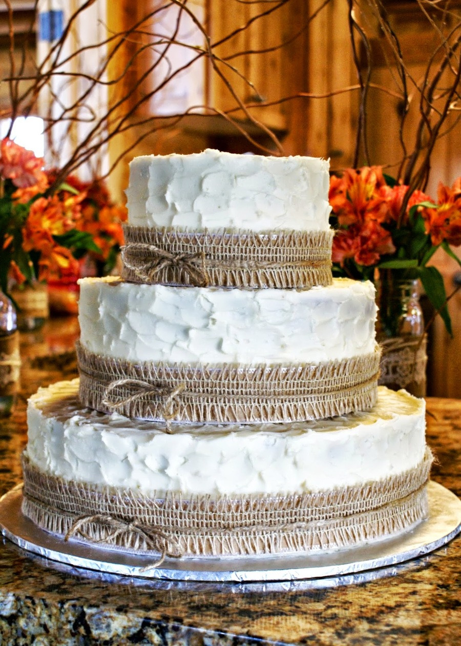 Rustic Country Wedding Cakes  Rustic Burlap Wedding Cake CakeCentral