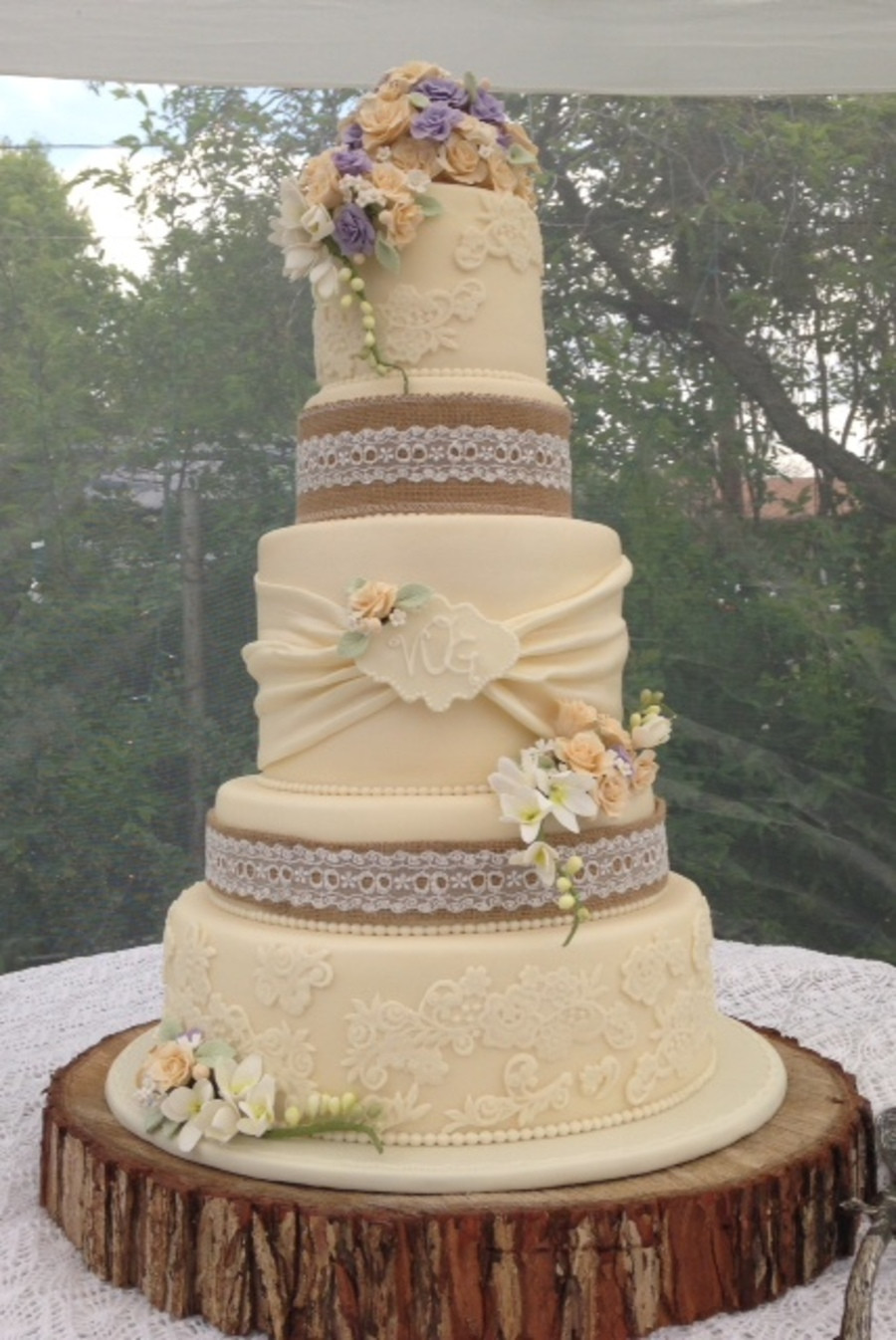 Rustic Style Wedding Cakes  Vintage Rustic Wedding Cake CakeCentral