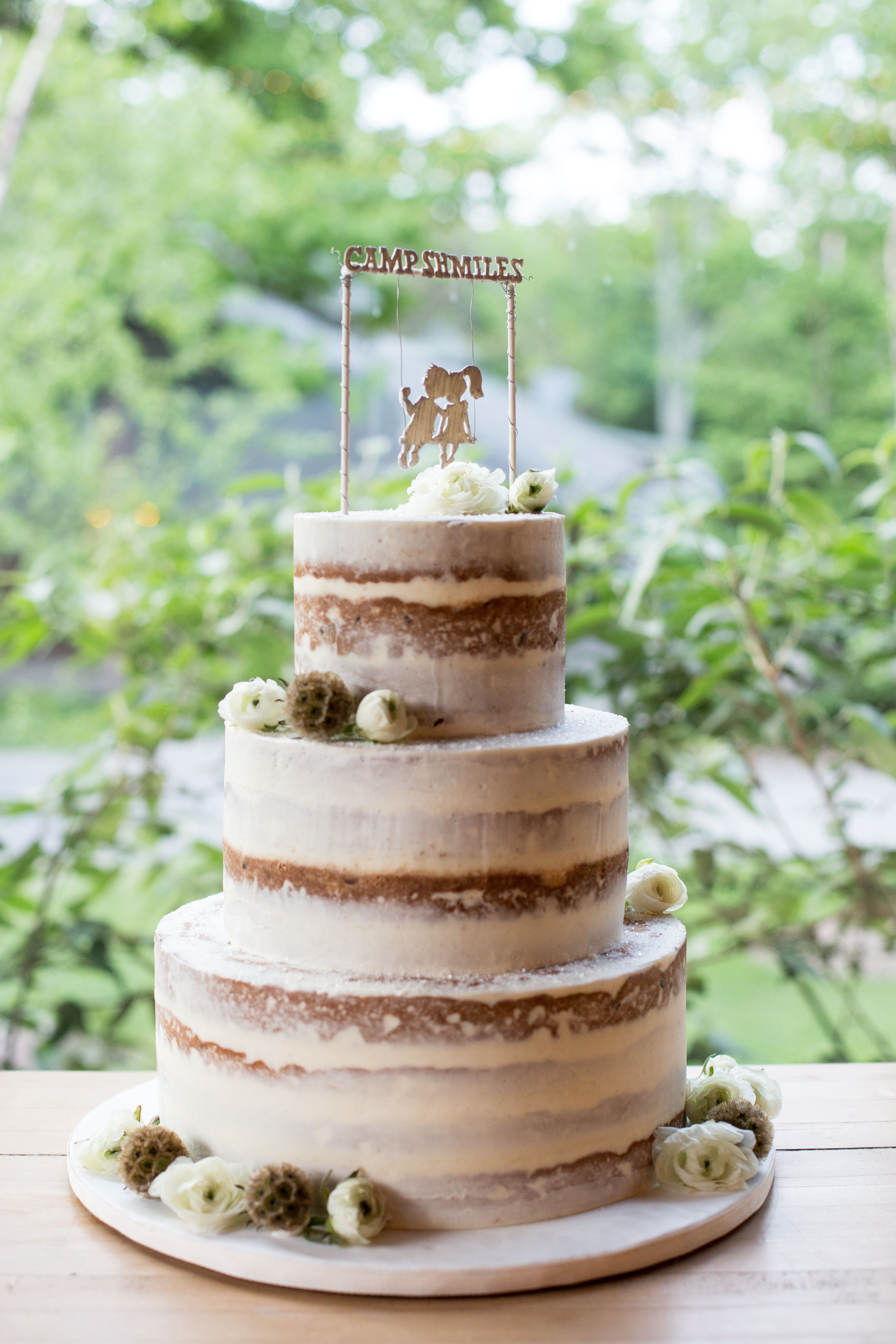 Rustic Themed Wedding Cakes  Rustic Camp Themed Naked Wedding Cake