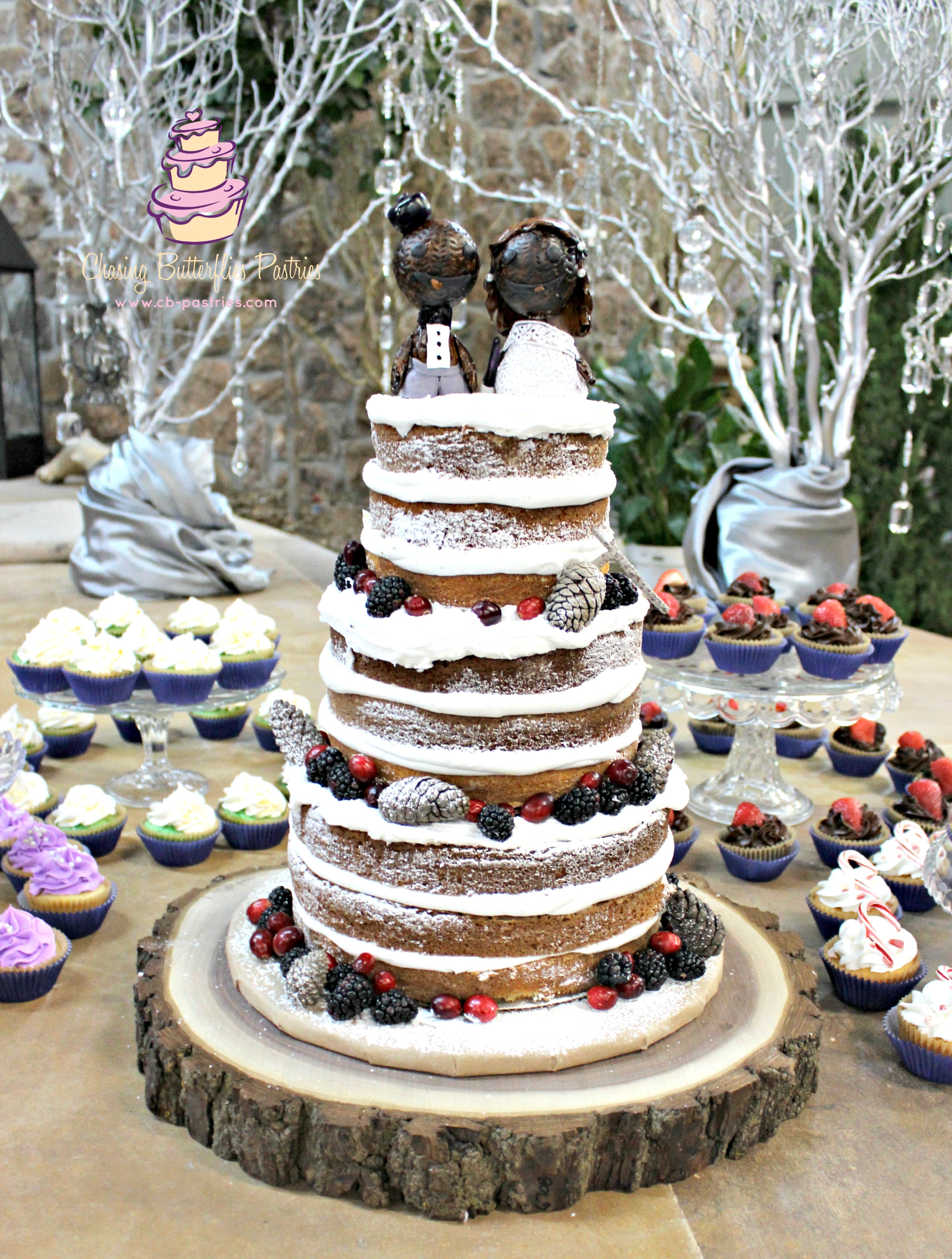 Rustic Themed Wedding Cakes  Winter Themed Rustic Naked Wedding Cake With Handmade