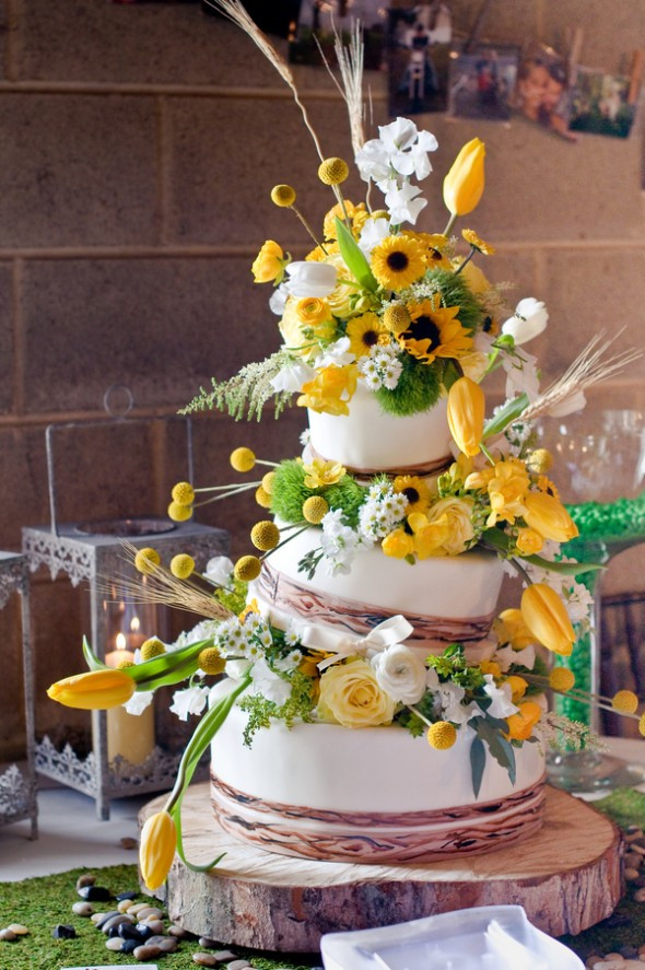 Rustic Themed Wedding Cakes  Sunflower Theme Wedding Rustic Wedding Chic