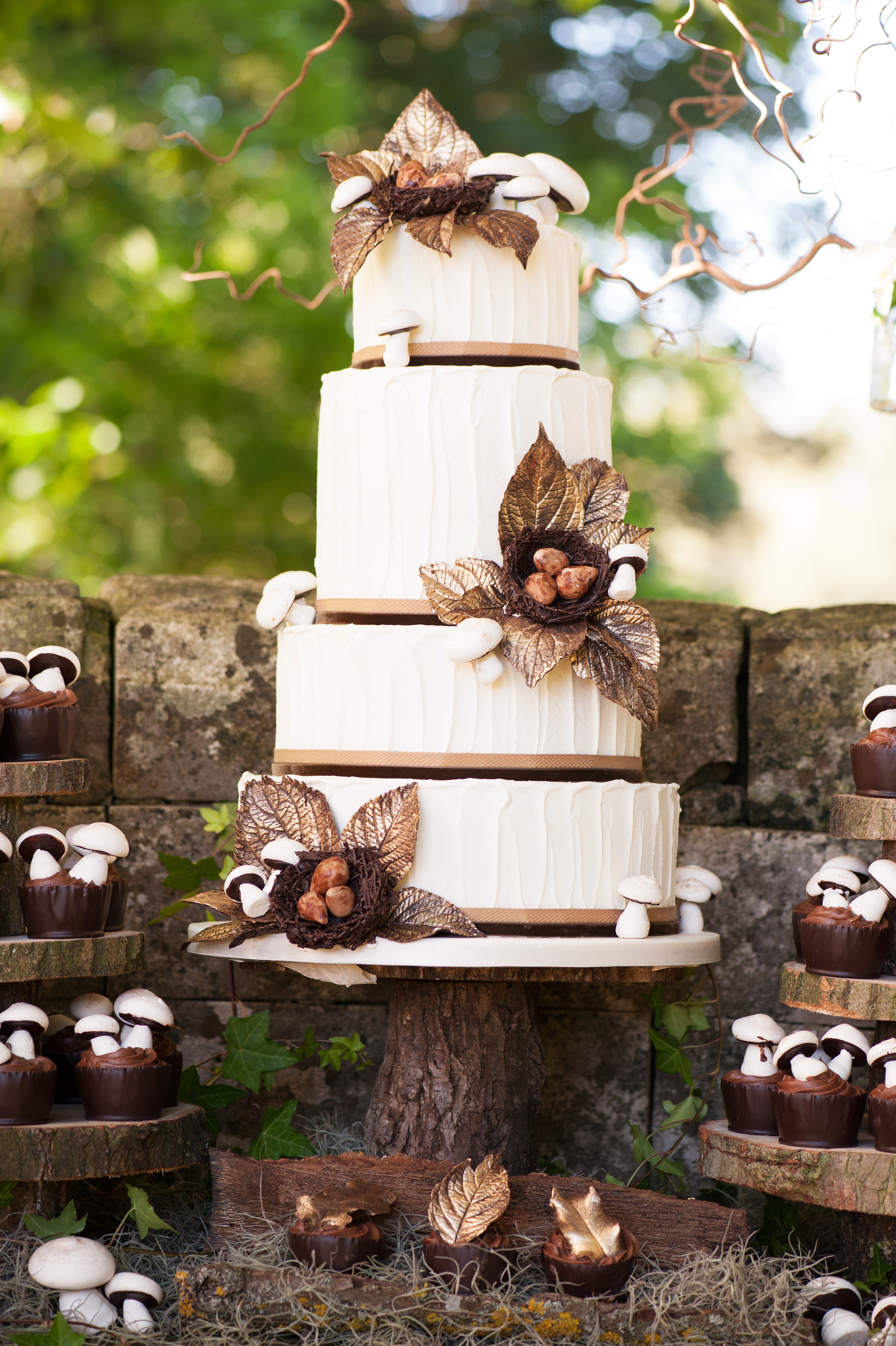 Rustic Themed Wedding Cakes  Woodland Themed Wedding Cake Rustic Wedding Chic