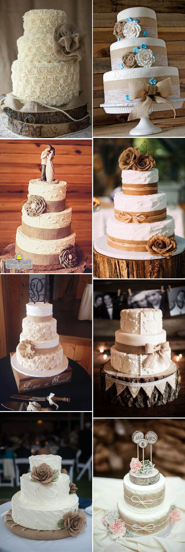 Rustic Wedding Cakes Ideas  The Most plete Burlap Rustic Wedding Ideas For Your
