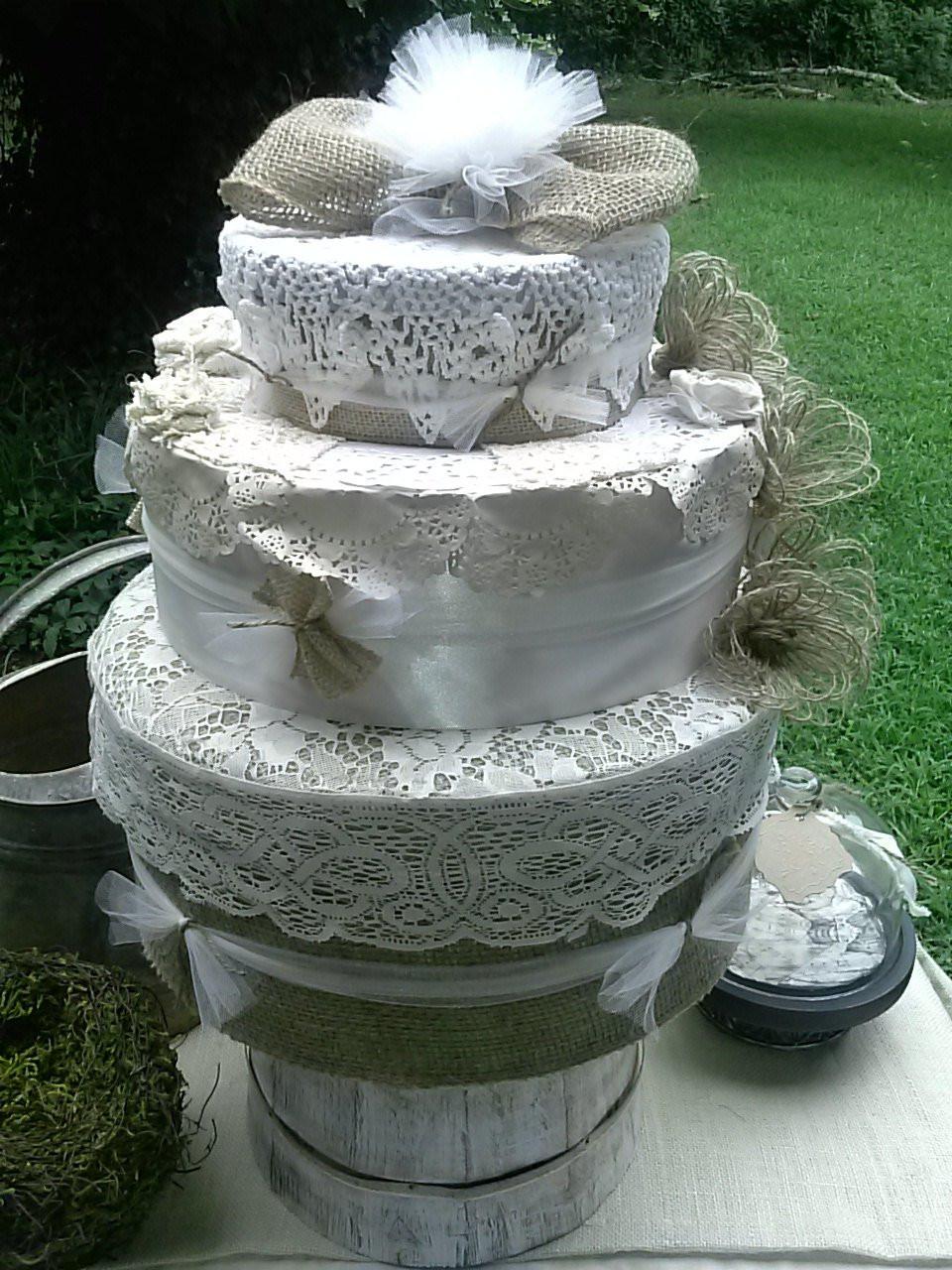Rustic Wedding Cakes With Burlap  Fake Wedding Cake Burlap and Lace wedding cake Rustic