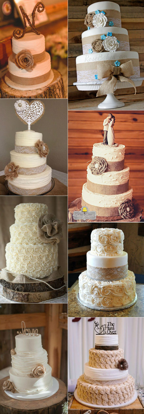 Rustic Wedding Cakes With Burlap  32 Amazing Wedding Cakes Perfect For Fall