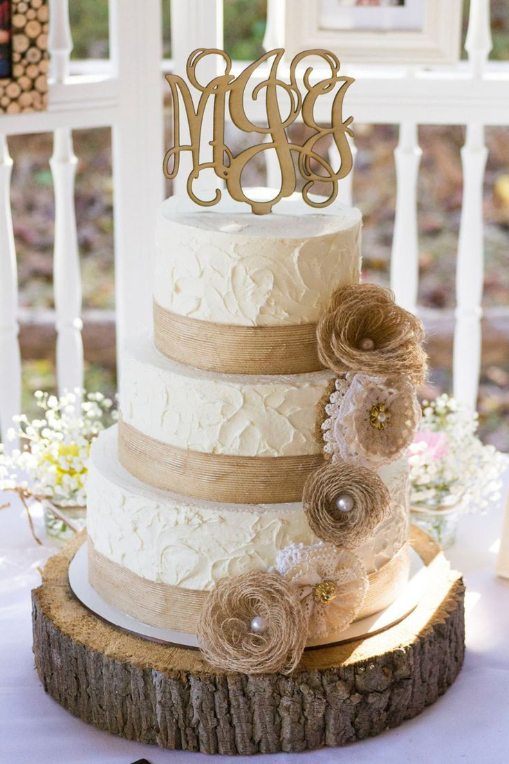 Rustic Wedding Cakes With Burlap  Rustic Burlap and Lace Wedding Cake