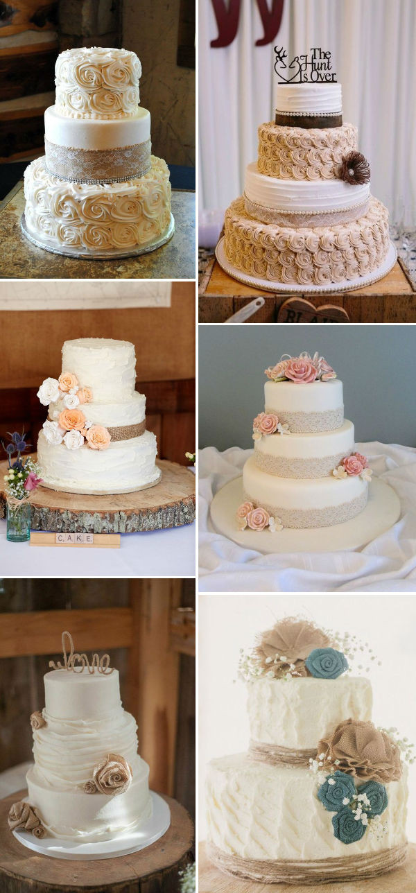 Rustic Wedding Cakes With Burlap  30 Rustic Burlap And Lace Wedding Ideas