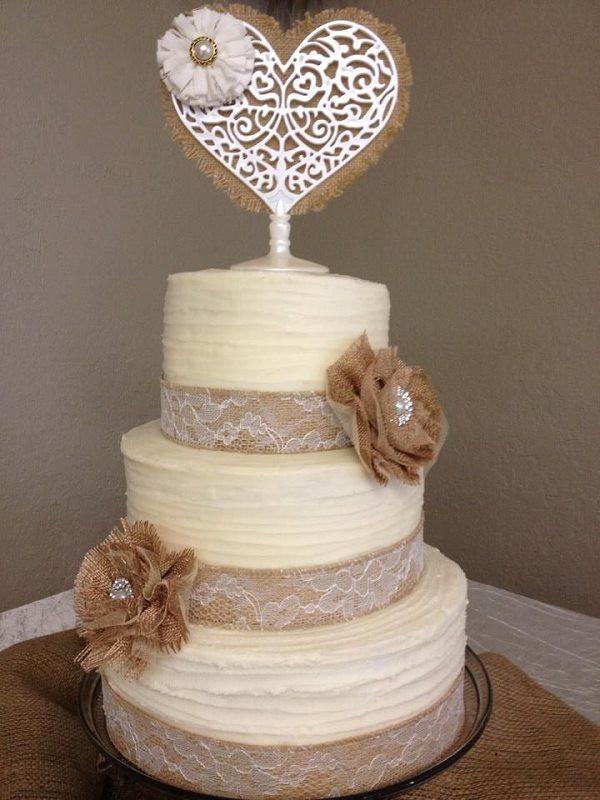 Rustic Wedding Cakes With Burlap  Burlap lace wedding cake