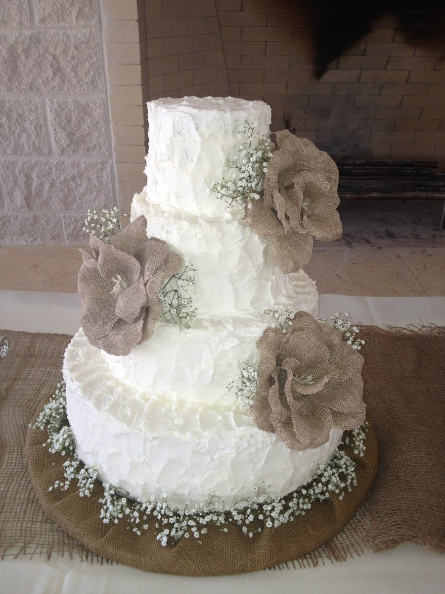 Rustic Wedding Cakes With Burlap  Burlap Themed Wedding Cake CakeCentral