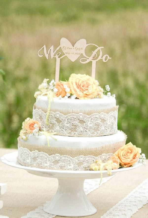 Rustic Wedding Cakes With Burlap  30 Burlap Wedding Cakes for Rustic Country Weddings
