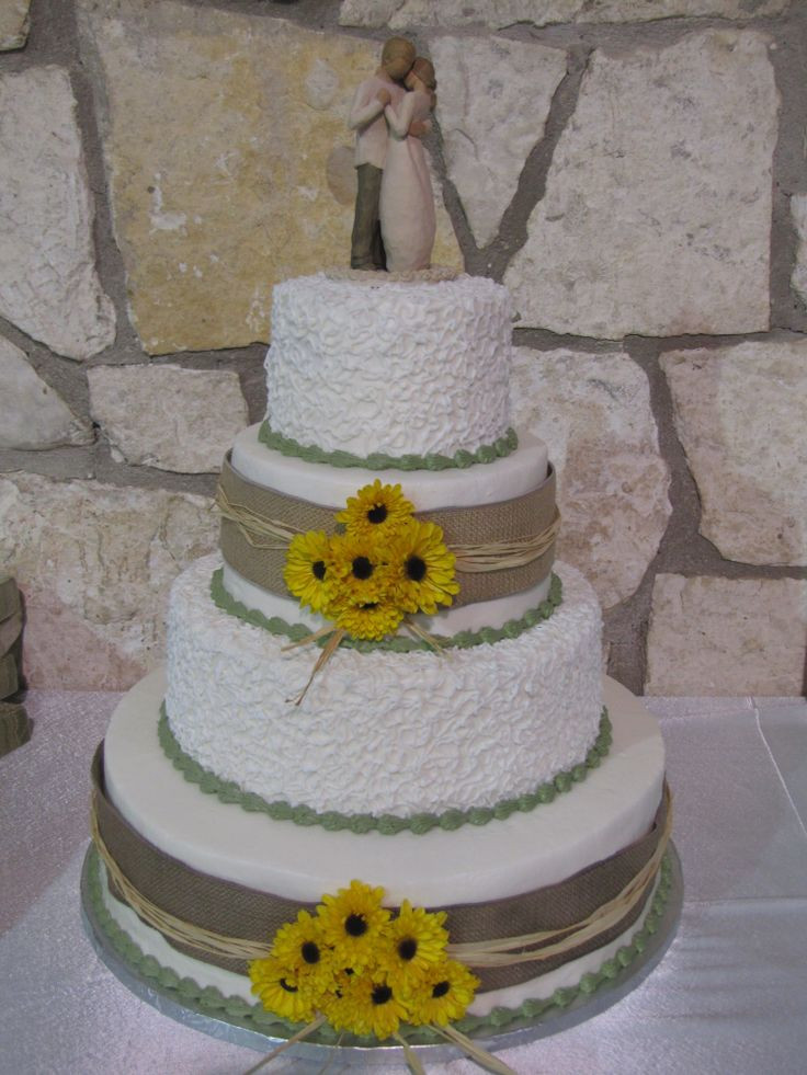Rustic Wedding Cakes With Burlap  rustic wedding cake with sunflowers