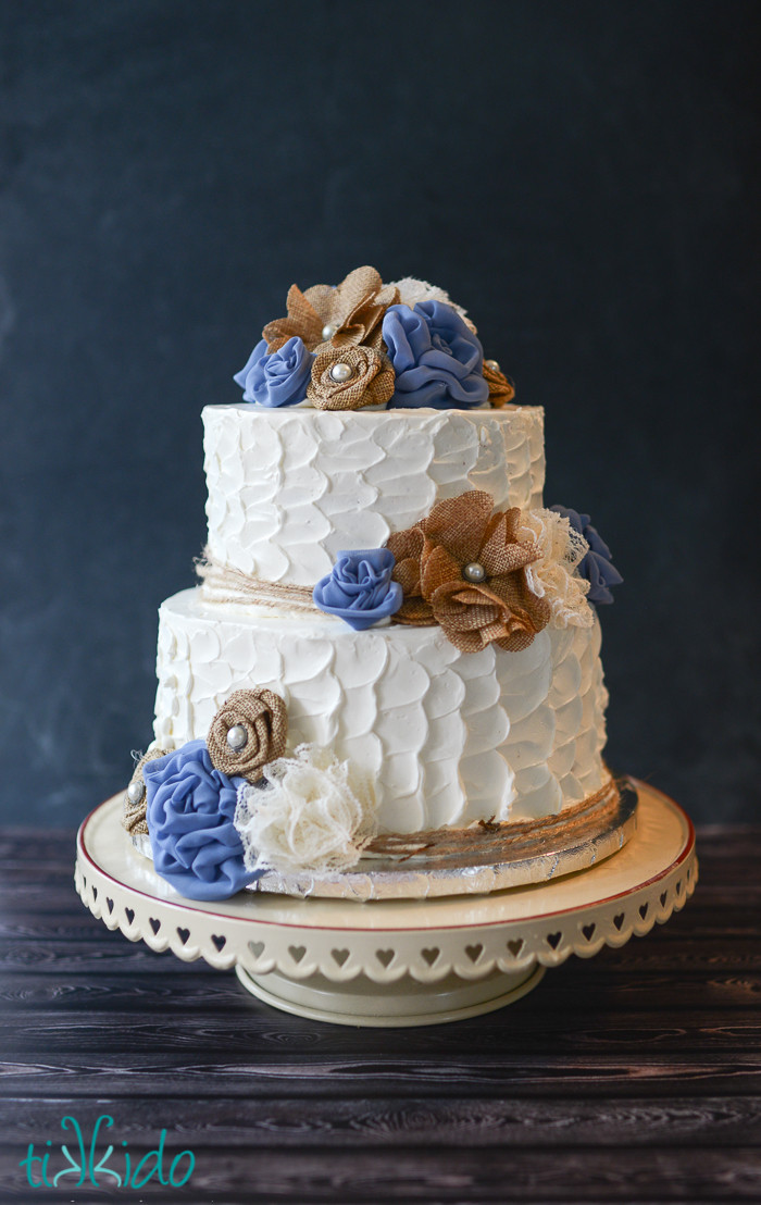 Rustic Wedding Cakes With Burlap  Rustic Burlap and Lace Flower Wedding Cake