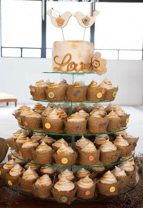 Rustic Wedding Cakes With Cupcakes  Rustic wedding cupcake and cake tower with burlap and