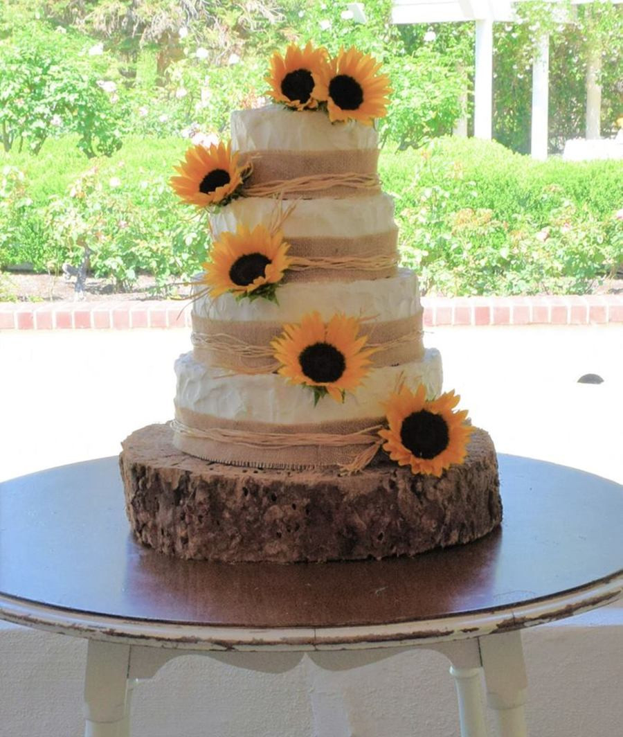 Rustic Wedding Cakes With Cupcakes  Sunflower Rustic Wedding Cake & Cupcakes CakeCentral