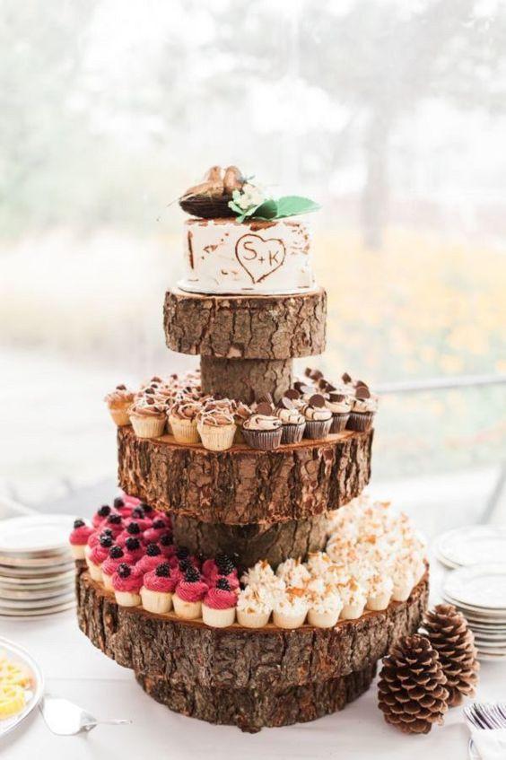 Rustic Wedding Cakes With Cupcakes  40 Cute Spring Rustic Wedding Décor Ideas Weddingomania