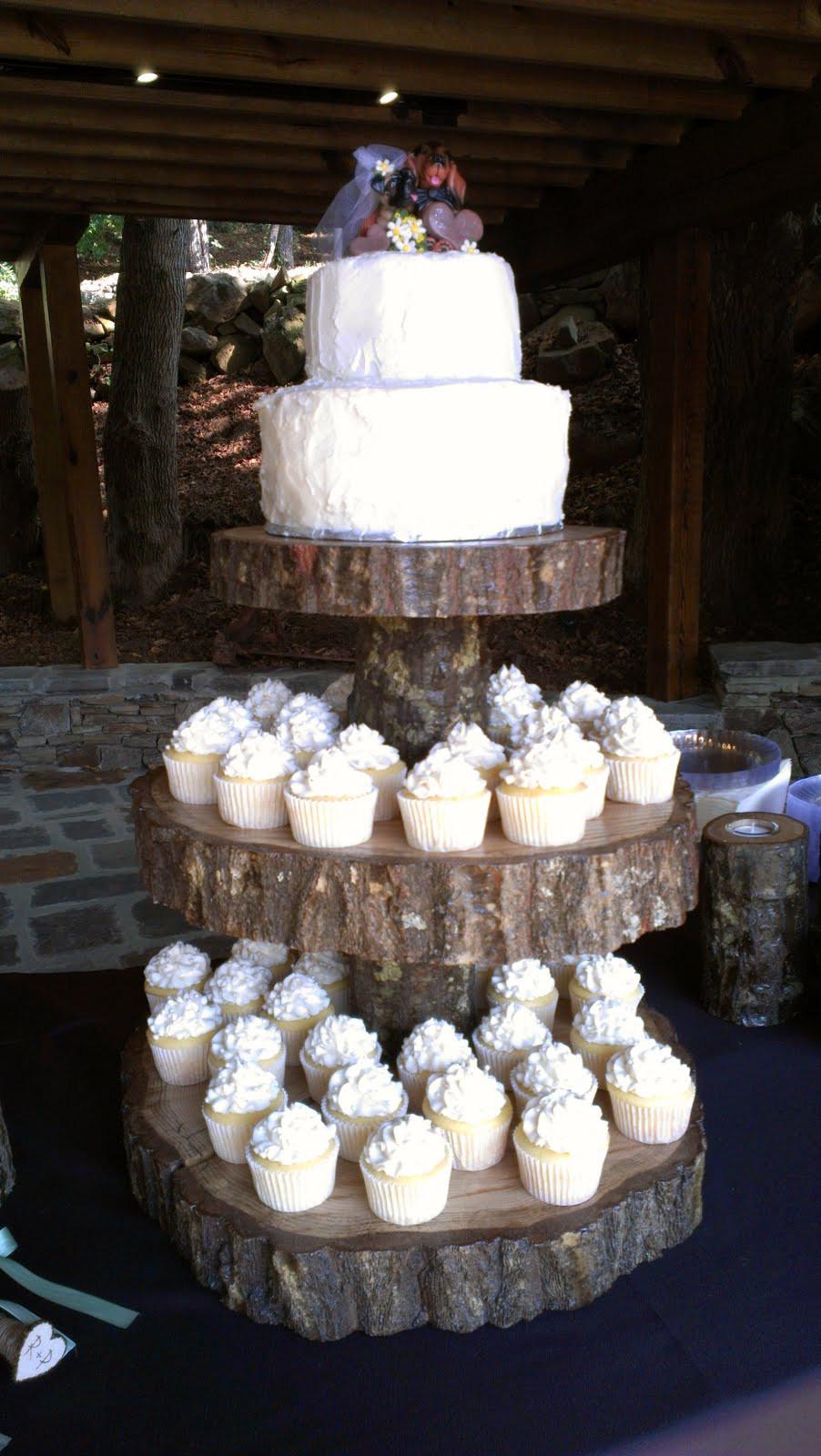 Rustic Wedding Cakes With Cupcakes  Sarah s Sweet Cakes Rustic Wedding Cake & Cupcakes