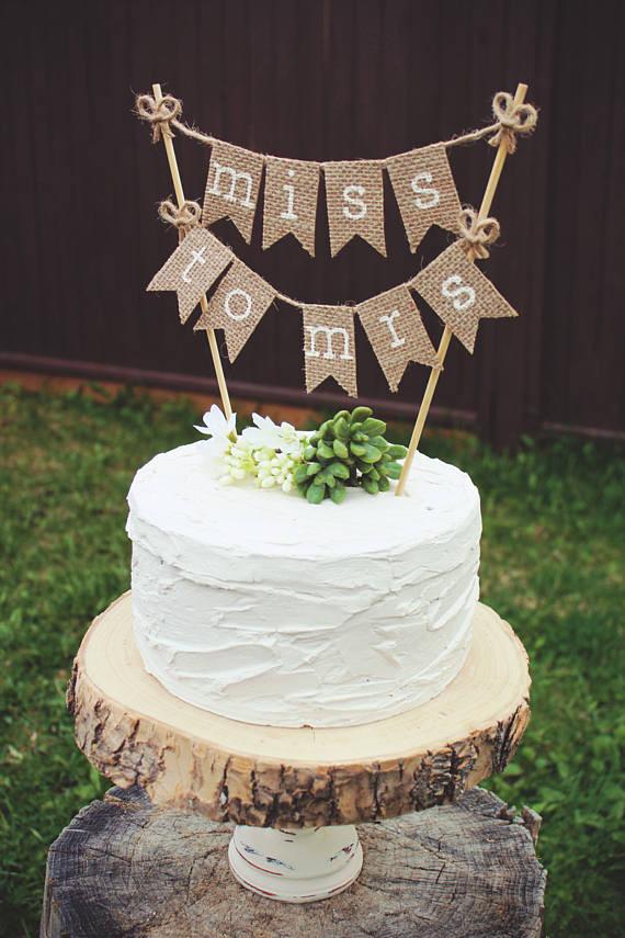 Rustic Wedding Shower Cakes  Bridal Shower Cake Topper Bride To Be Burlap Bridal Shower