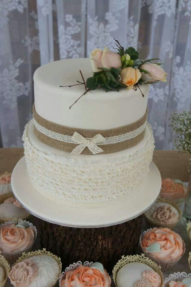 Rustic Wedding Shower Cakes  Two tier rustic bridal shower cake with ruffles layers