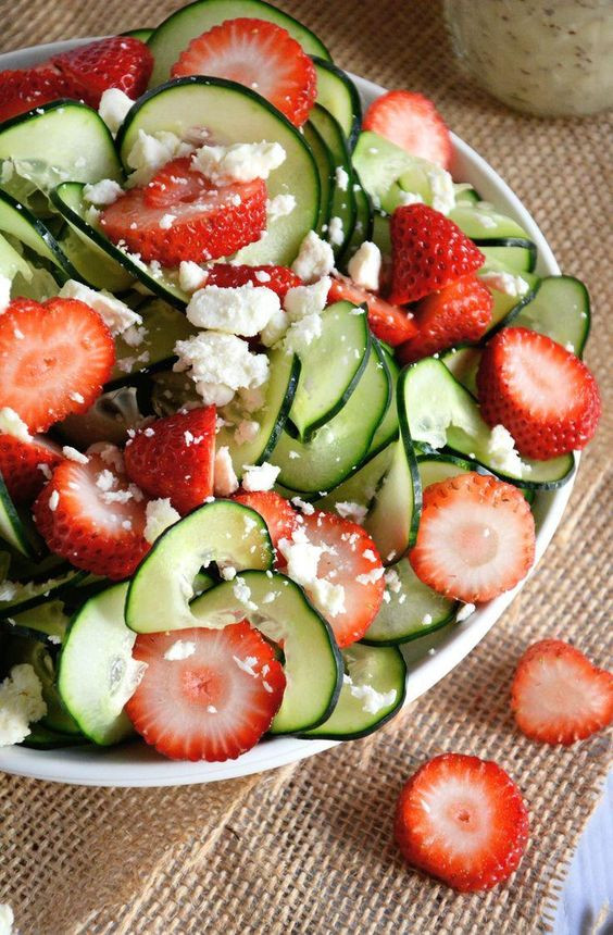 Salads For Easter Brunch  Cucumber & Strawberry Poppyseed Salad Recipe