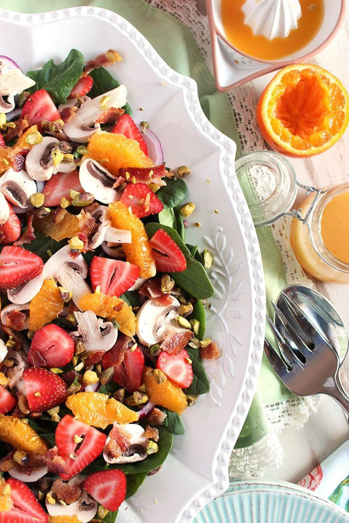 Salads For Easter Brunch  Citrus Spinach Salad with Strawberries and Bacon