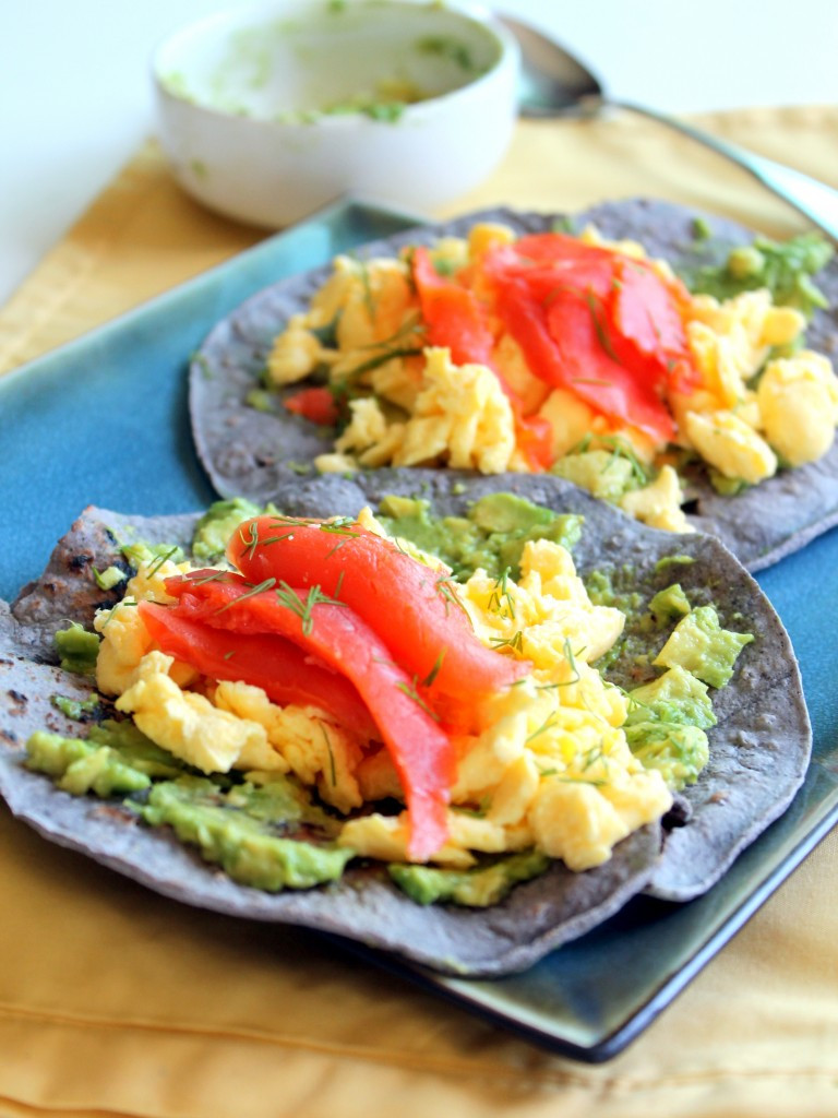 Salmon For Breakfast Healthy  Blue Corn Breakfast Tacos with Scrambled Eggs Smoked